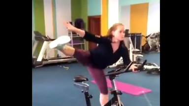 Girl Shows Off Impressive Moves On An Exercise Bike!