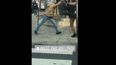 Dude Drops A Girl In West Philly & Leaves Her Azz Out On The Ground!