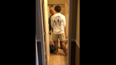 Dude Corners His Dad In The Bathroom And Lays Into Him!