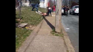 Girl Gets Jumped & Dragged Down Concrete Stairs Then Sucker Punched By A Dude!
