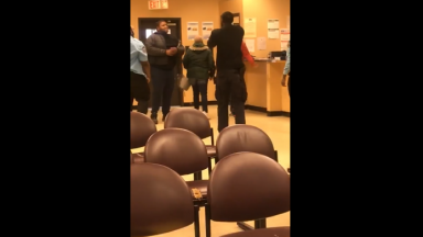 Security Guards Get Handled After A Mother Went Back To Tell Her Sons That The Security Guards Were Talking Crazy To Her!