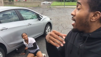 Girlfriend Furious After Having To Change Her Car Tire By Herself While Boyfriend Did Nothing!