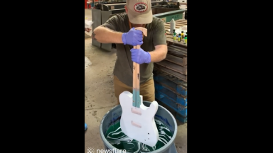 Amazing: Man Uses Hydro Dripping To Create Patterns On Guitars!