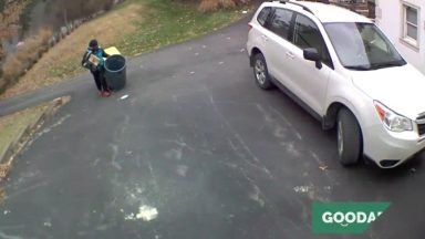 this_amazon_driver_went_to_a_house_to_deliver_packages__when_he_saw_their_trash_bins_were_still_on_the_street__so_he_brought_them_in__then__he_went_merrily_on_his_way_