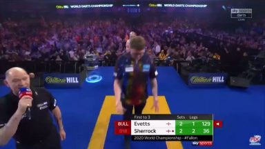 Fallon Sherrock makes history when she becomes the first women in history to beat a man at the World Darts Championship. Crowd goes wild.