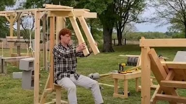 This guy built a wooden gym so he could train