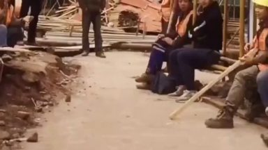 Construction worker's smooth dance