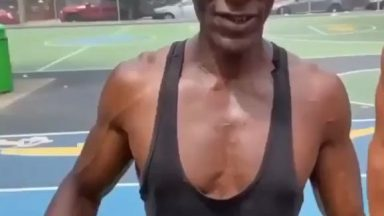 This 64 year old man's core strength is absolutely insane